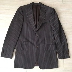 John Varvatos Brown Blue Striped Blazer Mens 40L
